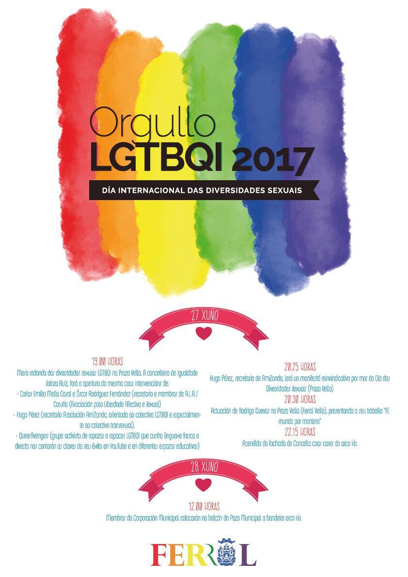 FERROL ILUMINARÁ HOXE O PAZO MUNICIPAL COAS CORES DO ARCO IRIS CO GALLO DO 28x, DIA INTERNACIONAL DA DIVERSIDADE SEXUAL LGTBQI 2017