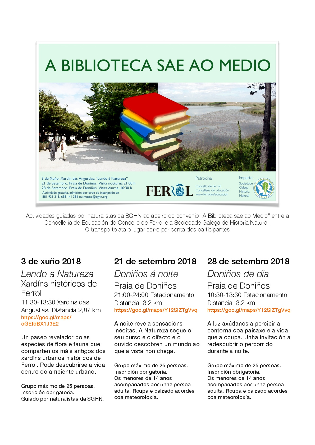 'A BIBLIOTECA SAE O MEDIO': REDESCUBRIMOS OS XARDÍNS DE FERROL E A LAGOA DE DONIÑOS EN TRES SAÍDAS GUIADAS